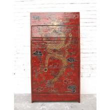 China Tibet Kommode Schuhschrank antik rote Bemalung Pinienholz