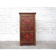 China Tibet Antik Kommode Säule rotbraun bemalt 100 Jahre Vollholz