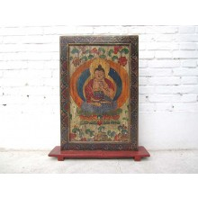 Tibet buntes Standbild buddhistische Gottheit großer Zierrahmen