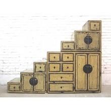 China Kommode Stufenschrank unter Treppen Schrägen altweiß vintage Holz
