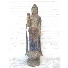 Guanyin stehend große Skulptur Pappelholz China 60 Jahre alt von Luxury Park