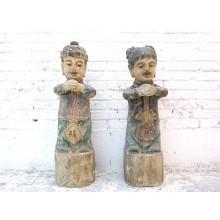 Zwei Kinder Paar große Skulpturen bemalte Pappel 70 Jahre alt von Luxury Park