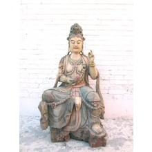 Guanyin sitzend Lebensgroße Skulptur Pappelholz bemalt China 1930 von Luxury Park