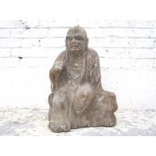 Mönch im Gespräch sitzend Statue Figur Skulptur Pappelholz China 1910 von Luxury Park