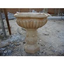 Antiker Brunnen Becken auf Sockel hellbrauner Marmor Klassik