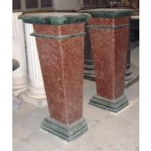 Kleine Säule quadratische Form Marmor rotbraun und schwarz Art Deco