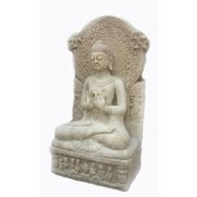 Asien Tempelfigur Buddha sitzend auf Thron heller Marmor Asiatische Mythologie