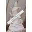 China Tempel Skulptur Göttin Guayin stehend mit Drachen weißer Marmor